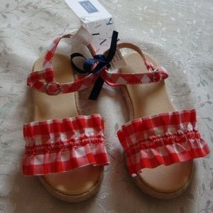 Janie And Jack Girls GINGHAM RUFFLE SANDALS SHOES